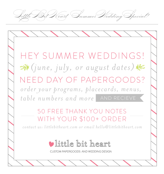summer wedding special - 50 free thank you notes with your $100 order!
