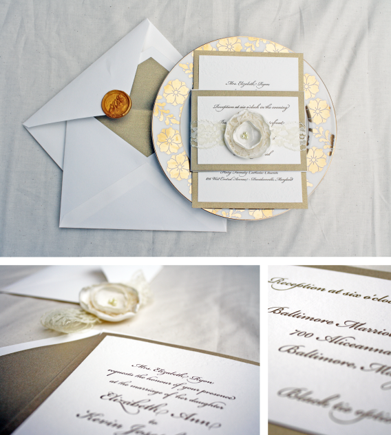 gold glam letterpess wedding invitation - elizabeth and kevin