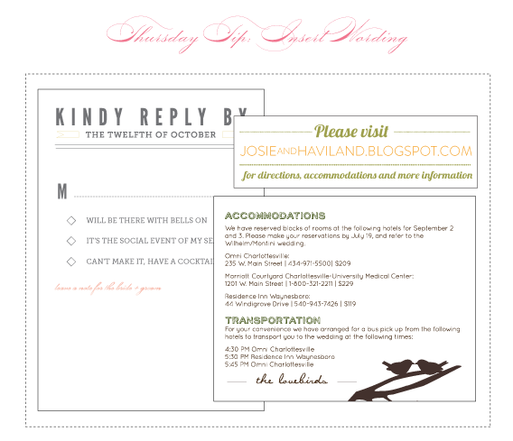 thursday tip - invitation insert wording