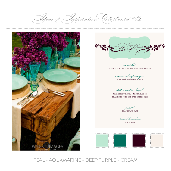 colorboard 12 - teal, aquamarine, deep purple, cream