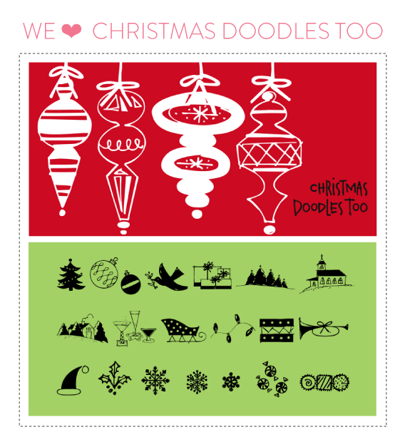 font friday 55: christmas doodles too by outside the line // font friday at little bit heart